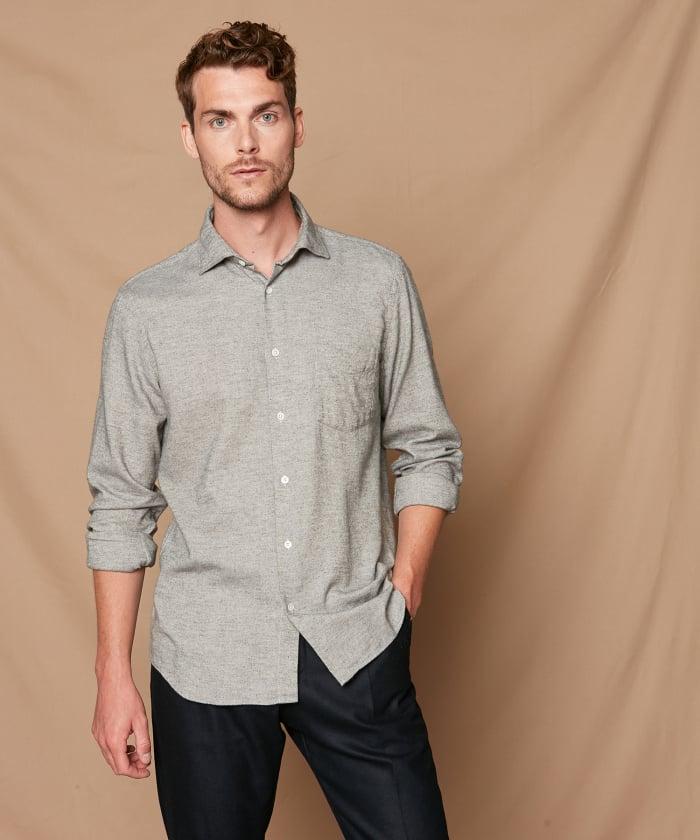 Grey cotton flannel Penn regular shirt