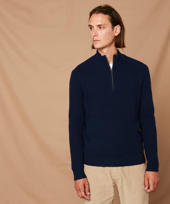 Cardigan bleu en laine et cachemire côtelé