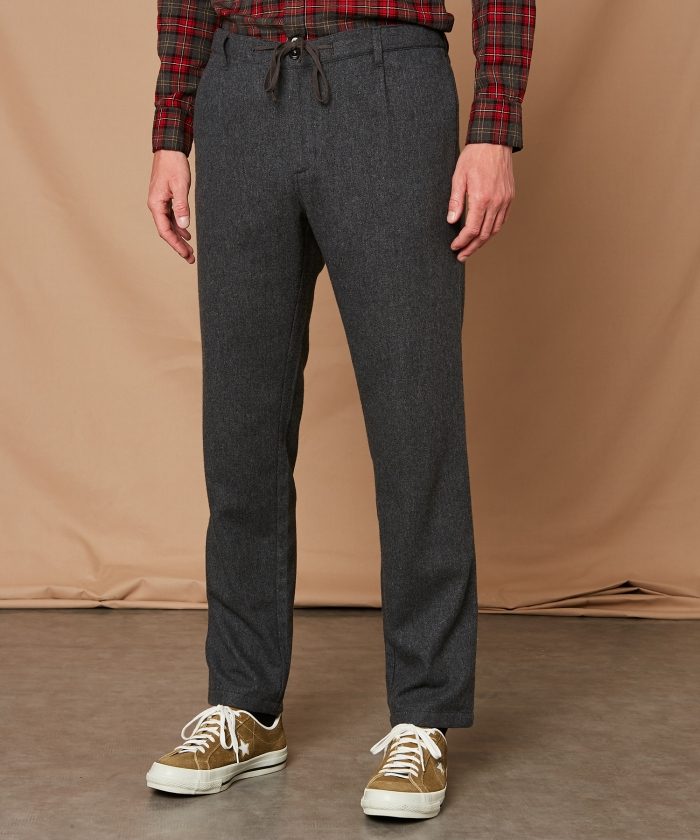 Grey washable wool Tanker pants