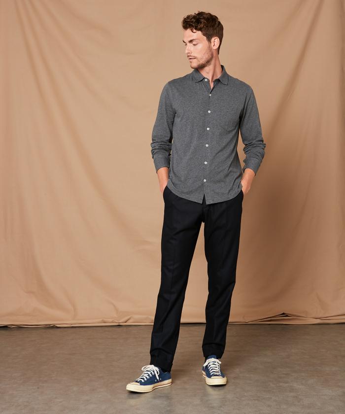 Chemise gris chinée en jersey de coton
