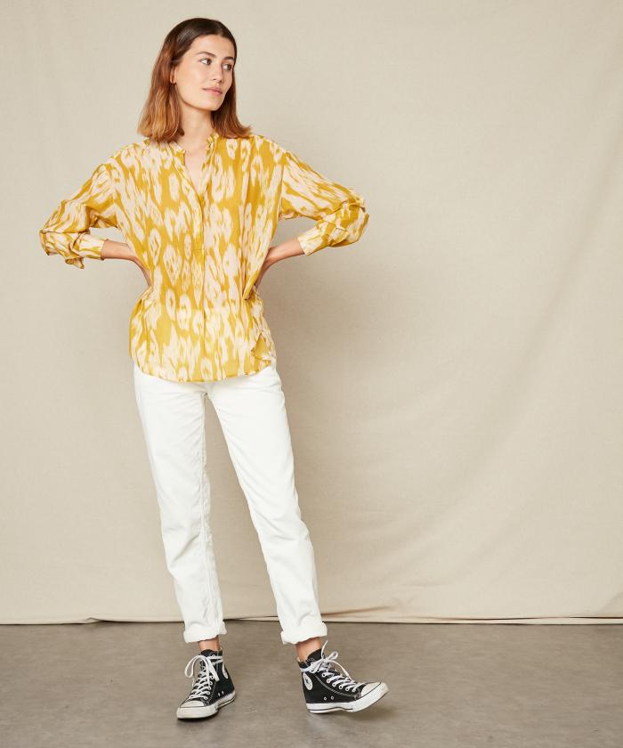 Chemise Cabane à imprimé Ikat jaune
