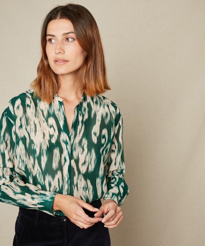 Chemise Cabane à imprimé Ikat vert