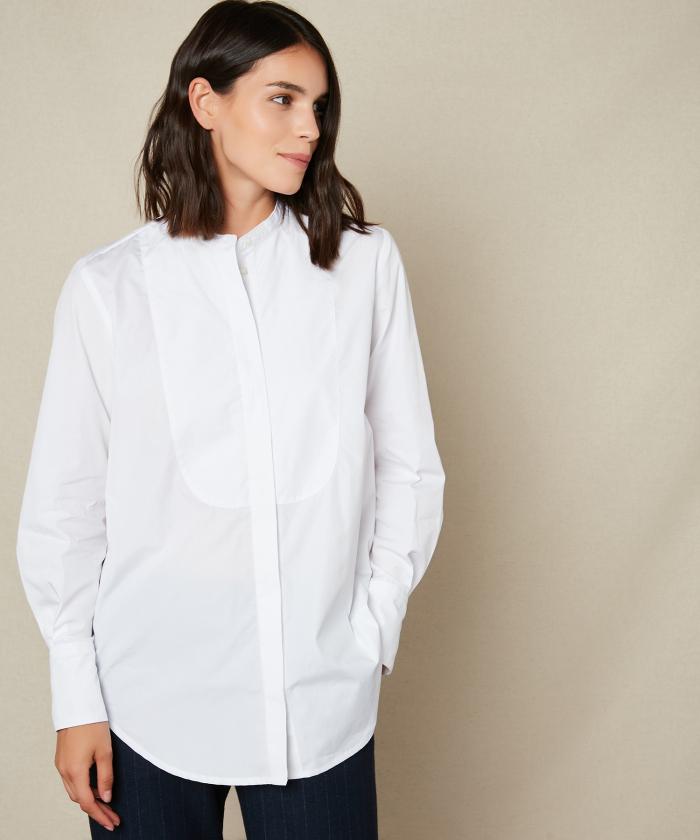 White cotton poplin shirt