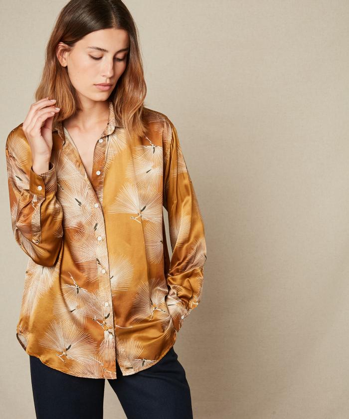 Oversize Japanese print copper Charlot shirt