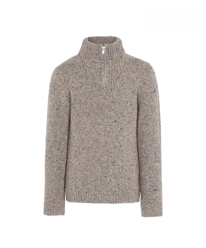 Pull taupe en laine Donegal