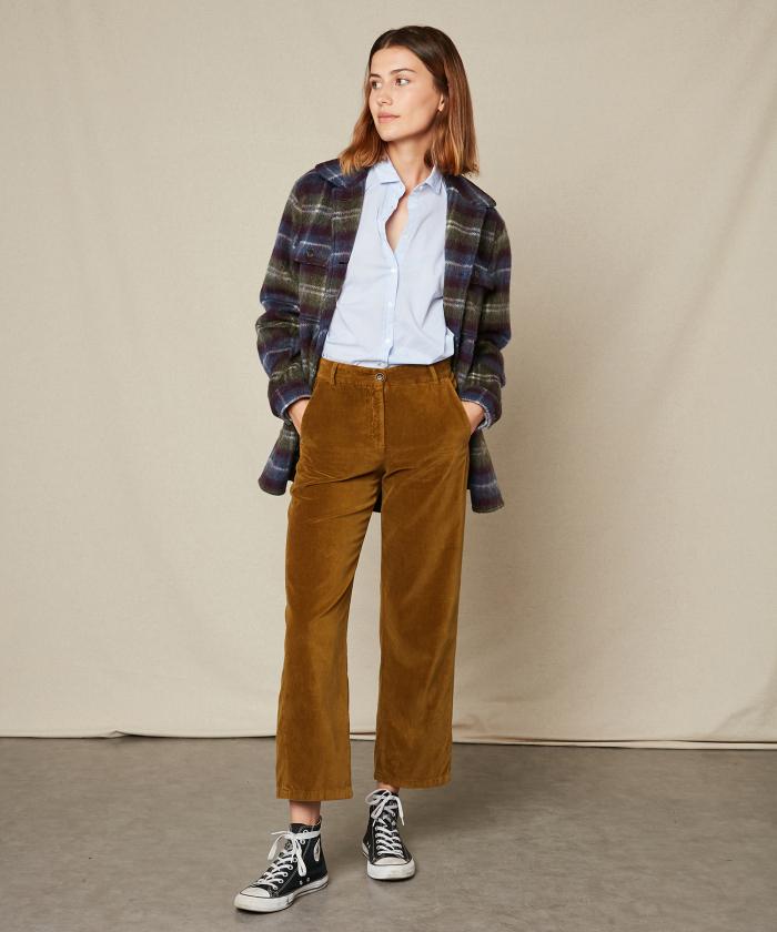 Pantalon Pike en velours lisse bronze