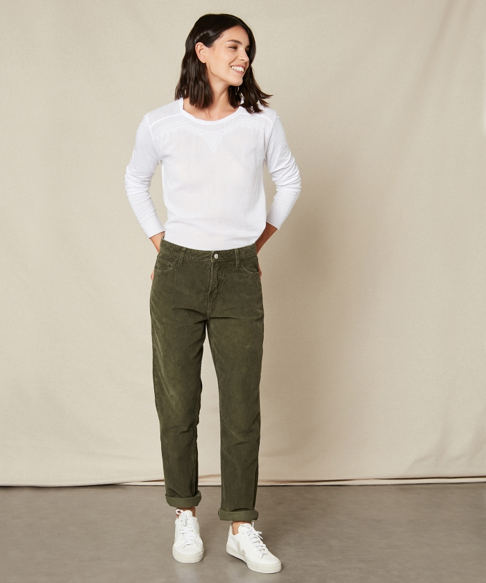 Pantalon Pencil en velours côtelé army