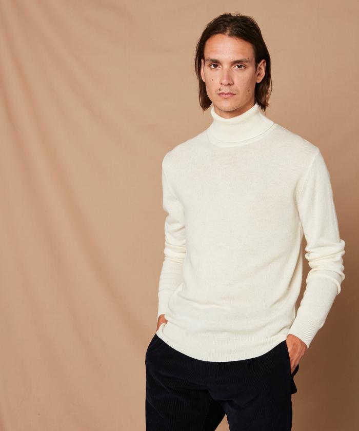 Pull col roulé blanc en laine et cachemire