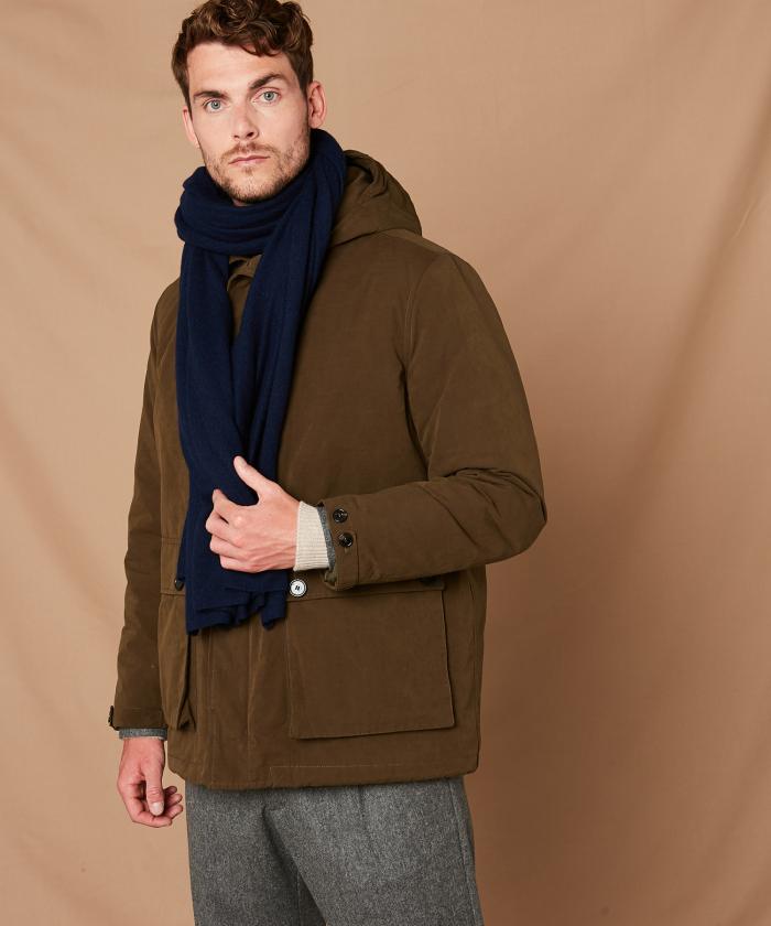 Echarpe en laine et cachemire bleu marine