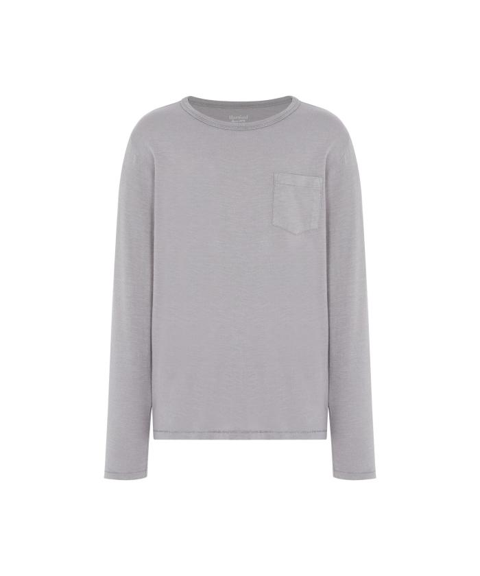 Grey slub cotton long sleeves tee-shirt