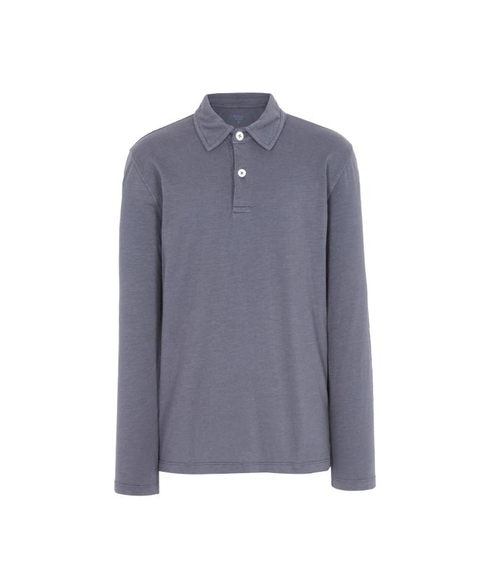 Grey slub cotton polo