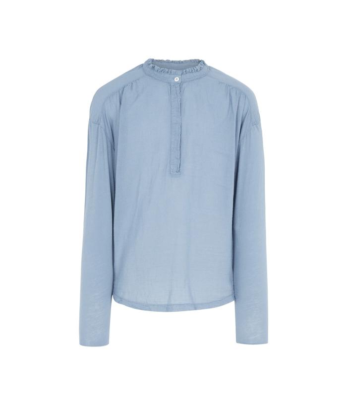 Tee-shirt bleu bi-matière à volants