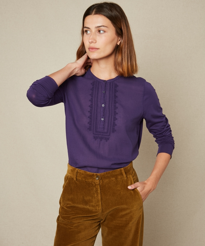 Double fabric violet embroidered tee-shirt