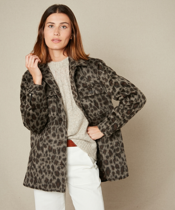 Manteau Vico en laine léopard