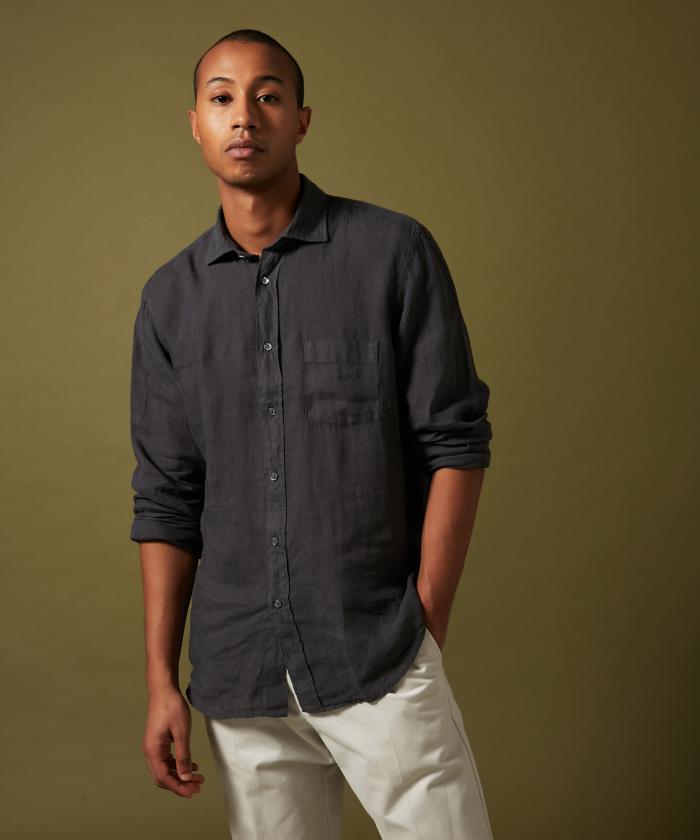 Charcoal linen Paul regular shirt