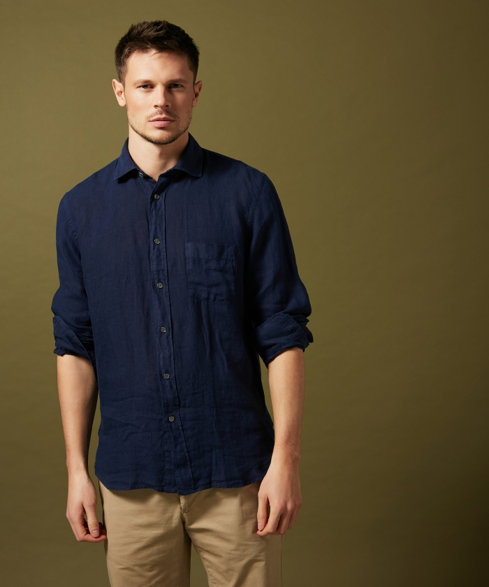 Navy linen Paul regular shirt