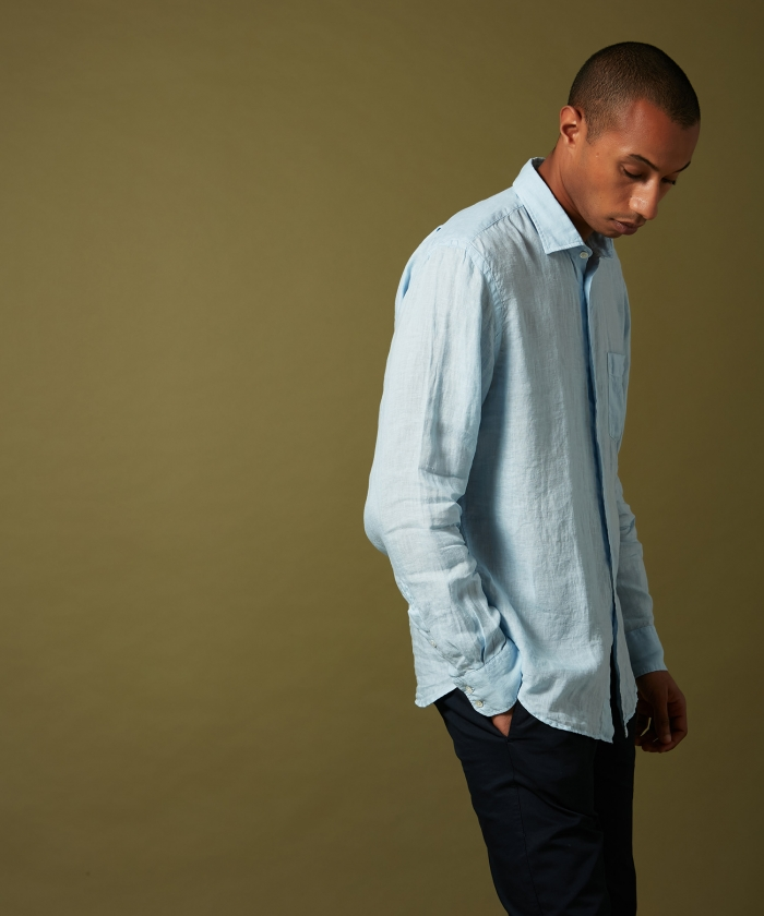 Azur linen Paul regular shirt