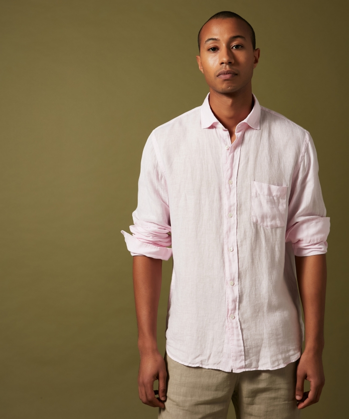 Pink linen Paul regular shirt