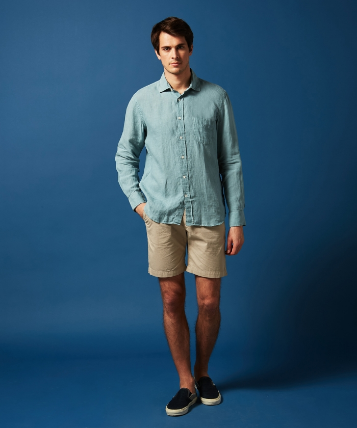 Oyster green linen Paul regular shirt