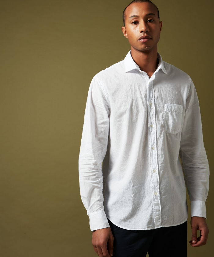 White cotton voile Paul regular shirt