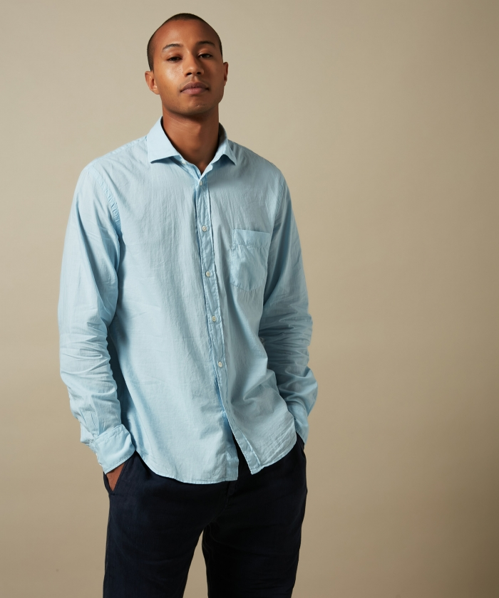 Sky blue cotton voile Paul regular shirt