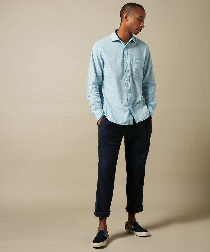 Sky blue cotton voile Paul regular shirt
