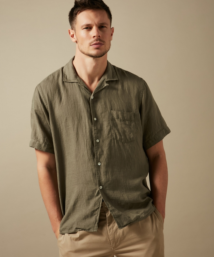 Army linen Palm regular shirt