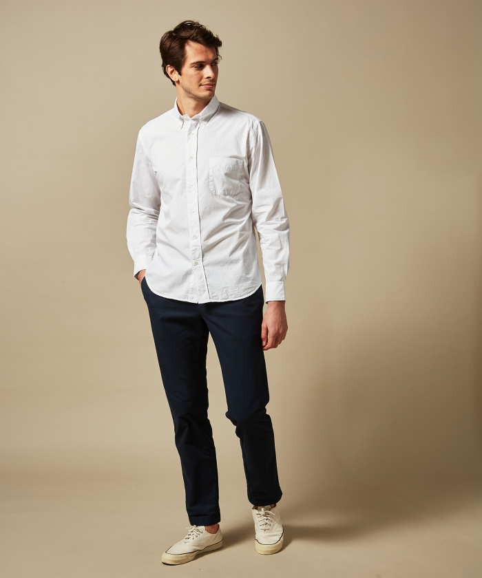 White summer twill Pitt regular shirt