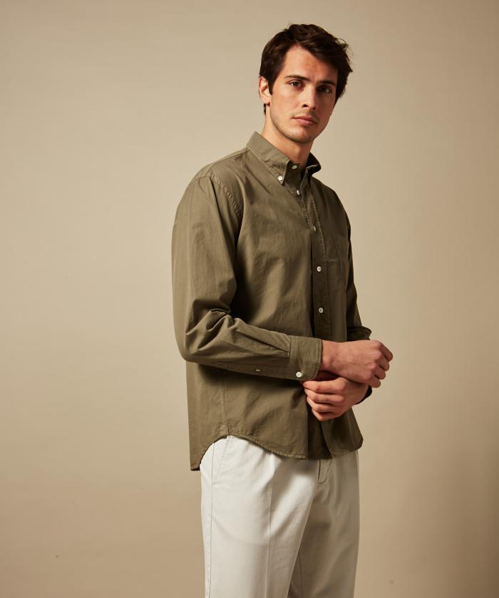 Olive green summer twill Pitt regular shirt
