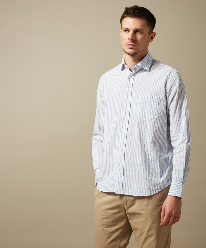 Blue striped cotton voile Paul regular shirt