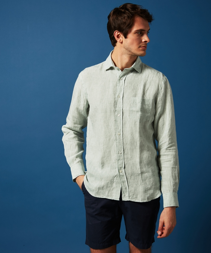 Chemise regular Paul en chambray vert