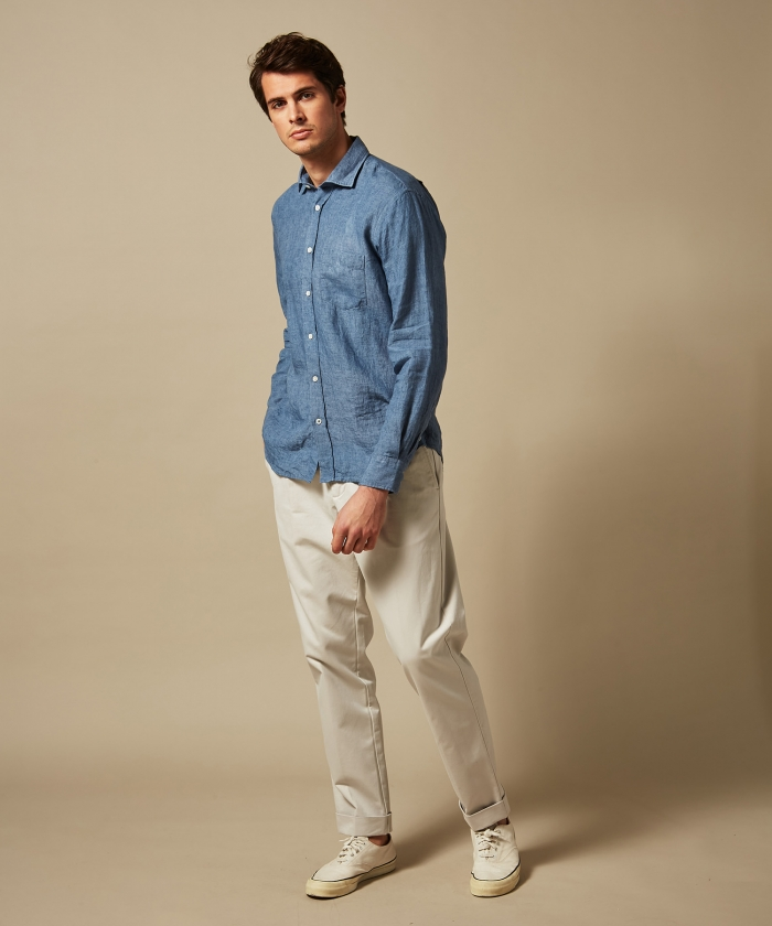 Blue washed linen chambray Paul regular shirt
