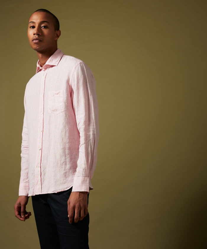 Pink fil-a-fil linen Paul regular shirt
