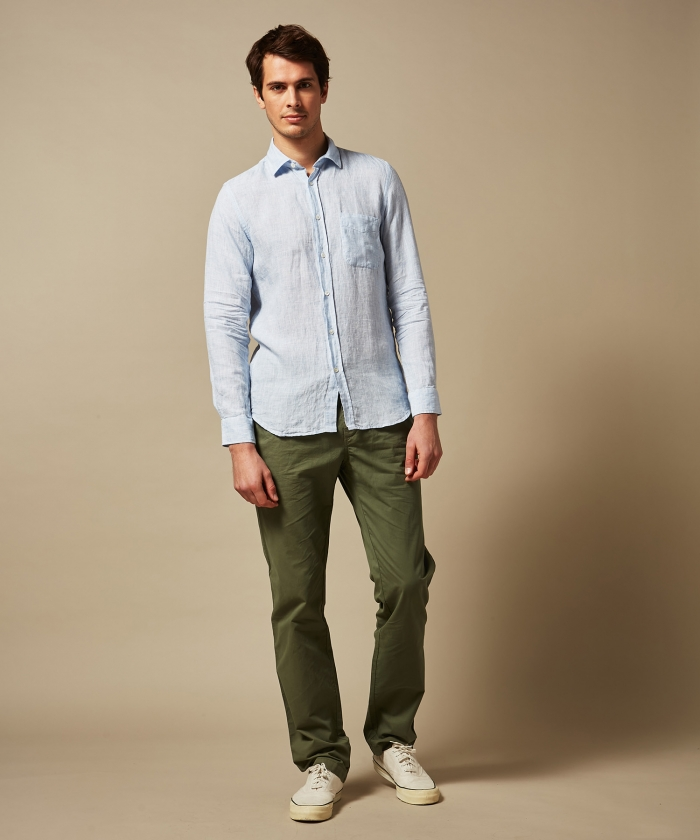 Denim fil-a-fil linen Storm slim-fit shirt
