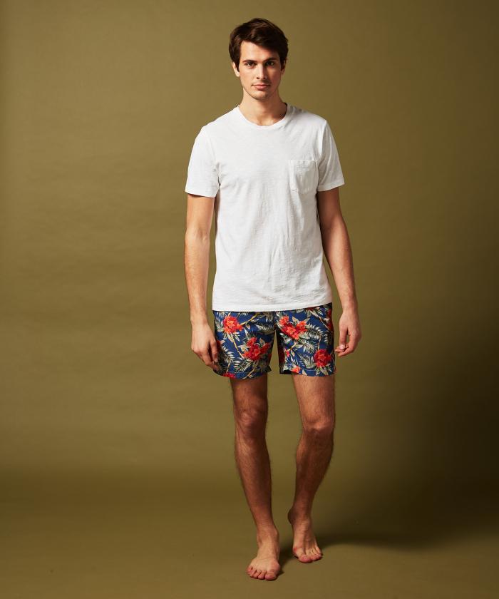 Navy Hibiscus Swim shorts
