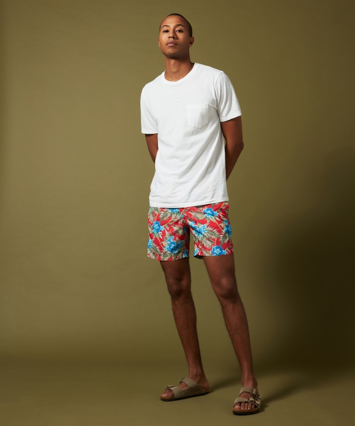 Red Hibiscus Swim shorts