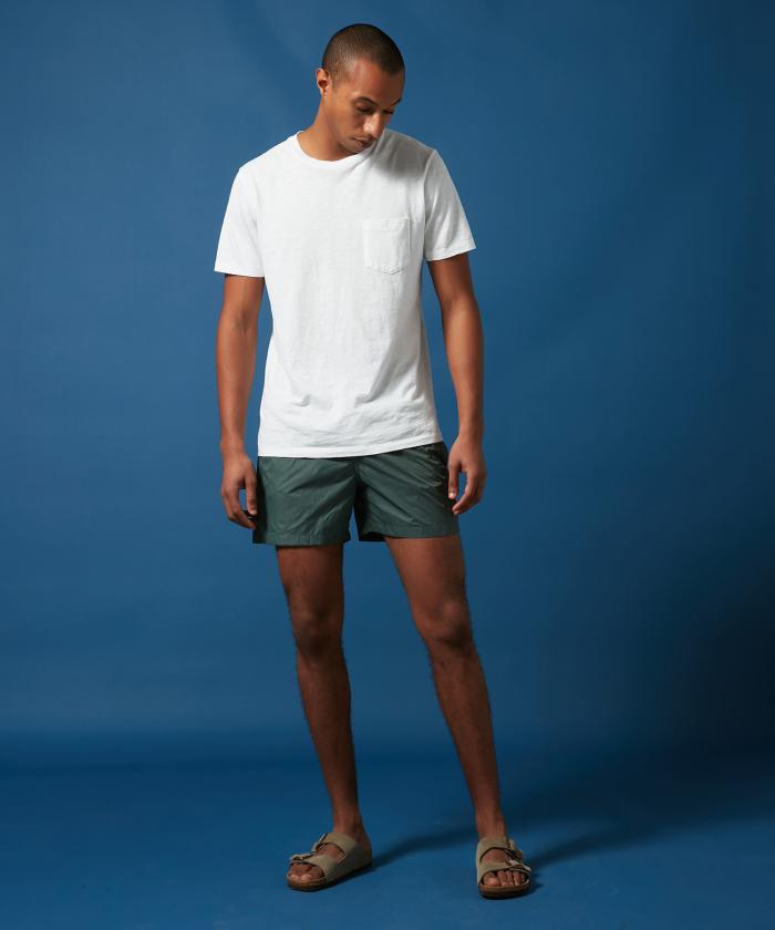 Army green lightweight Boxer swim shorts