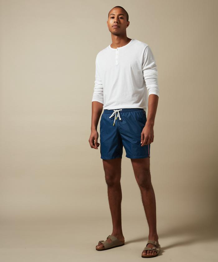 Navy lightweight striped Swim shorts