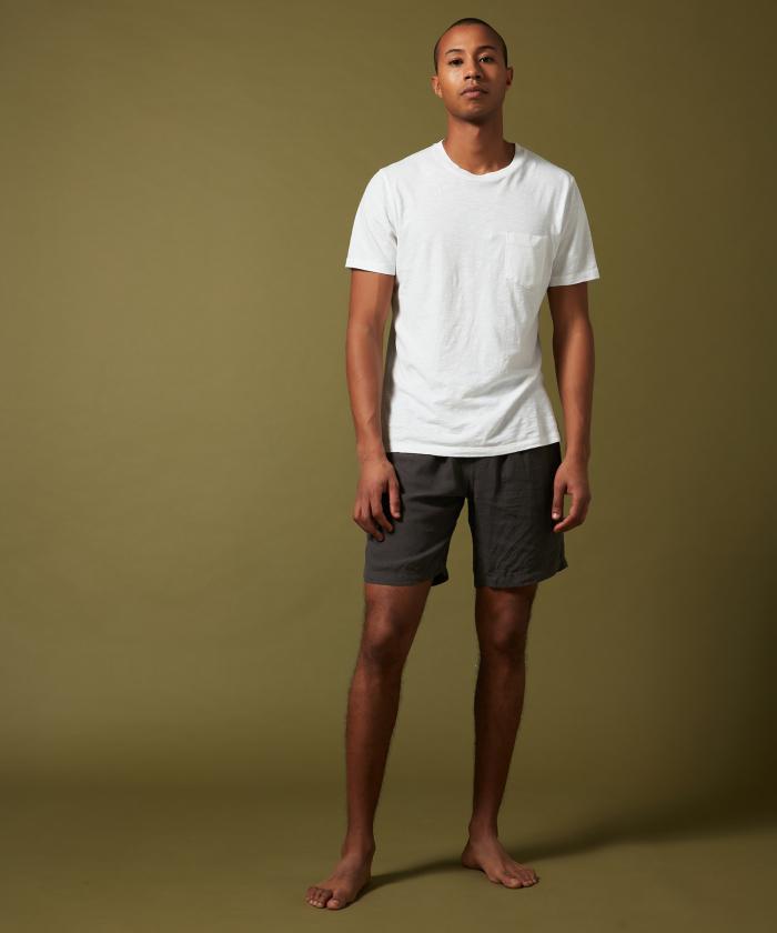 Charcoal linen Swim shorts long-length
