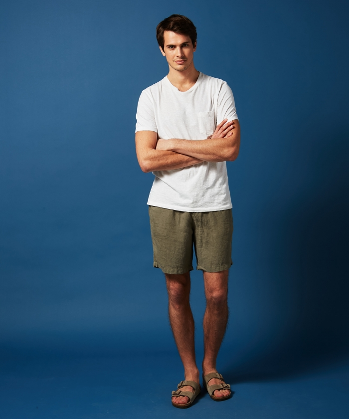 Olive green linen Swim shorts long-length