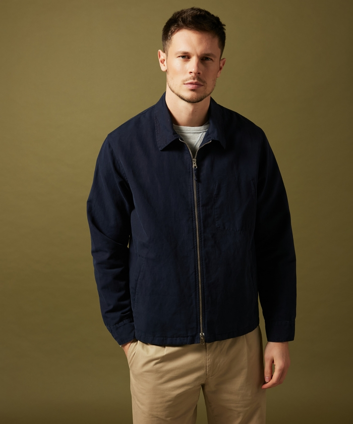 Navy cotton and linen Downtown jacket