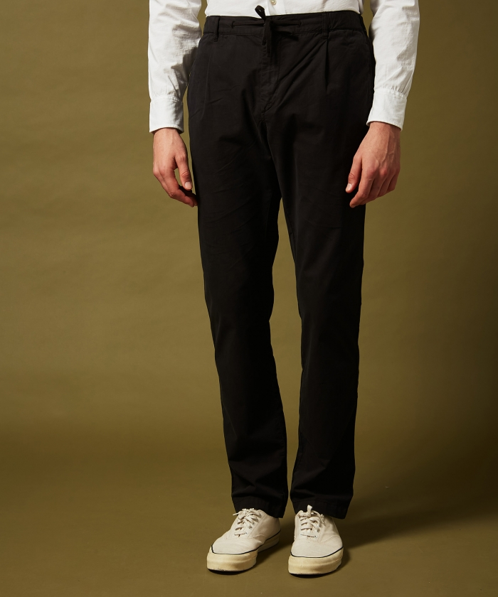 Charcoal cotton twill Tanker easy pants