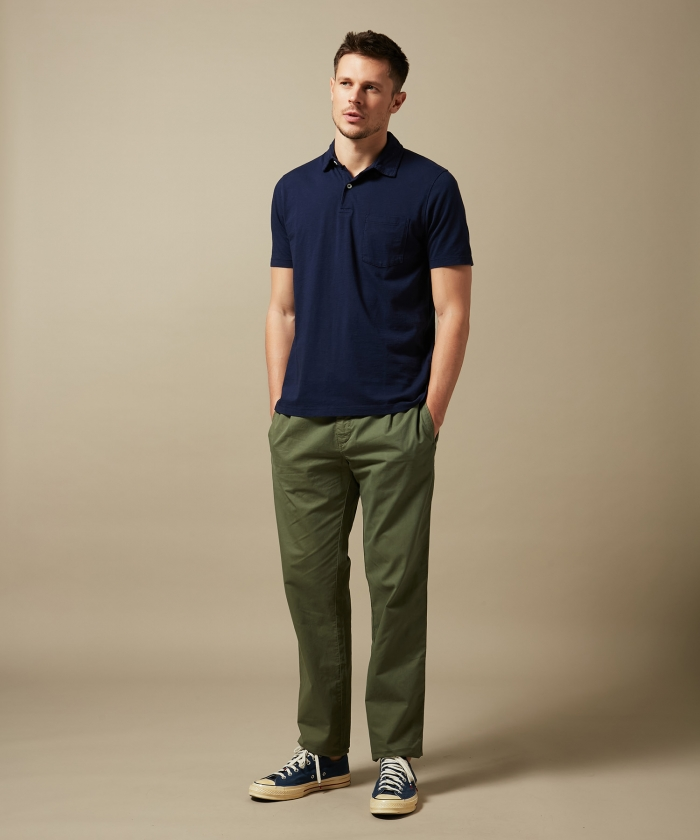 Olive green cotton twill Tanker easy pants