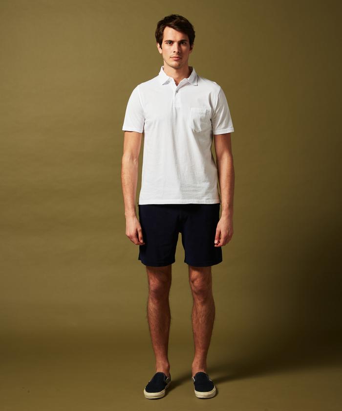 Polo en jersey de coton blanc