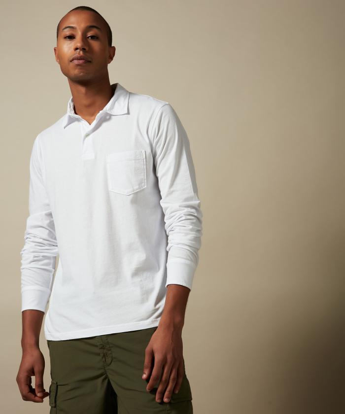 Polo en jersey de coton blanc manches longues