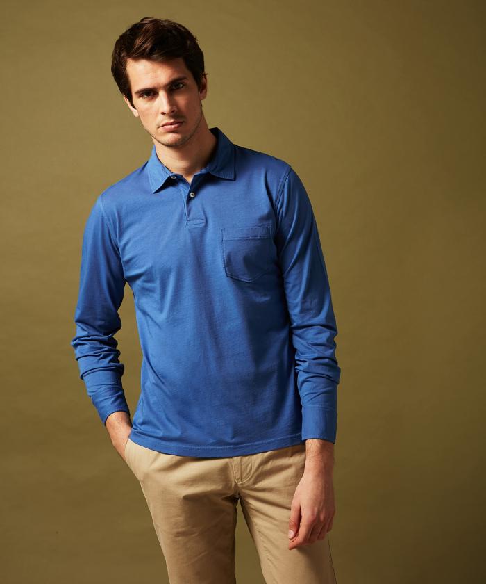 Polo en jersey de coton cobalt manches longues