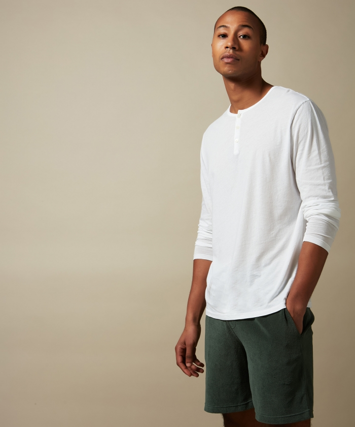 Tee-shirt Henley en light jersey blanc