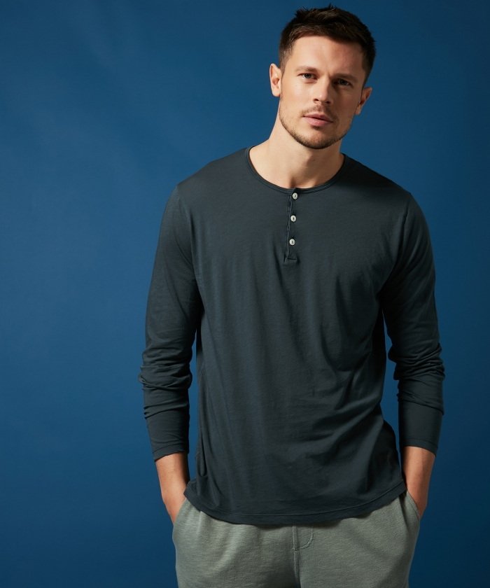 Tee-shirt Henley en light jersey carbone