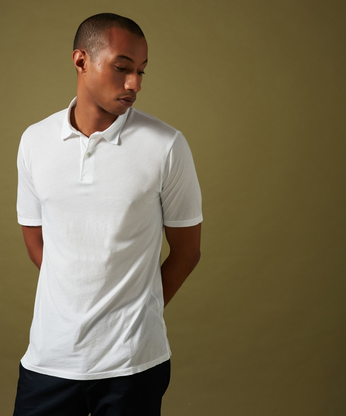 Polo en light jersey blanc