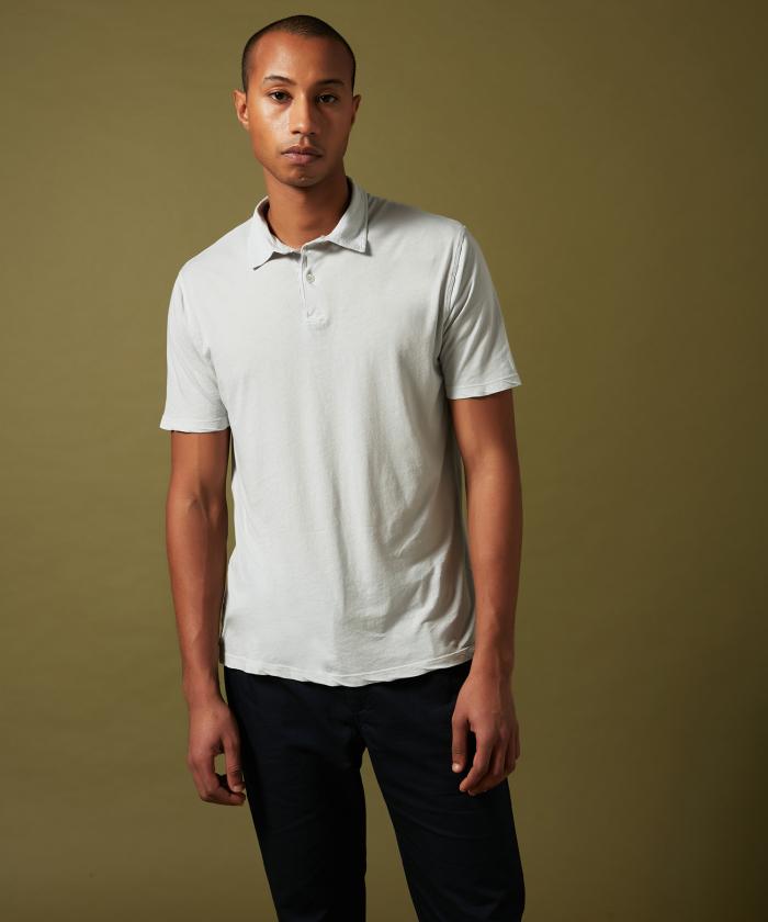 Polo en light jersey gris clair